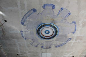 Ceiling of the Lower Selma Museum that is hand painted
